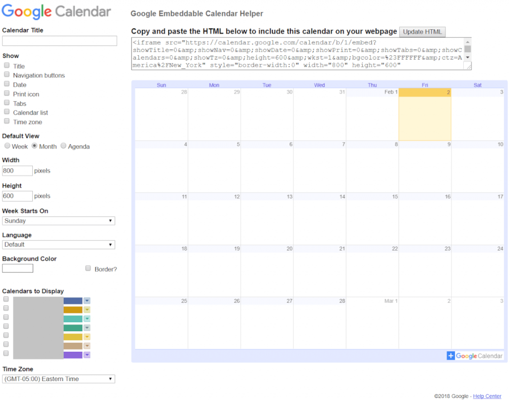 Embed calendar