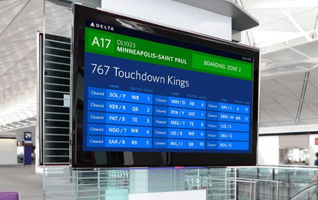 Delta Airlines flight schedule displays