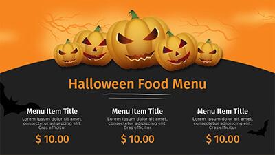 Halloween food menu template